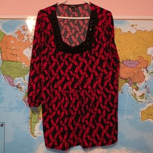 Red and black blouse with Big Rhinestones